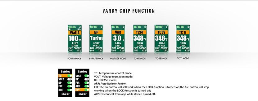 Vandy Vape Jackaroo Dual TC Box Mod Modes