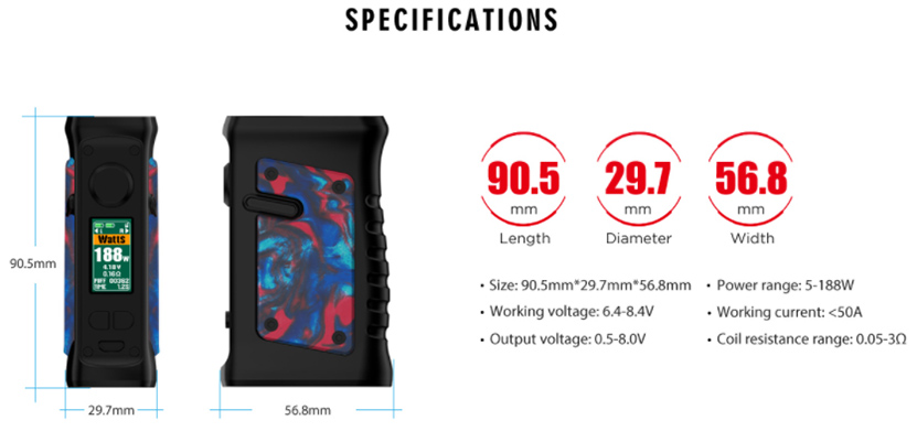Vandy Vape Jackaroo Dual Mod Specification