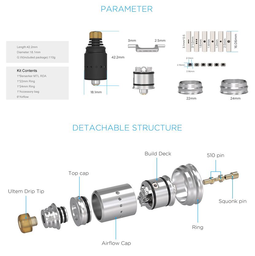 Vandy Vape Berserker MTL RDA Atomizer Parameter and structure
