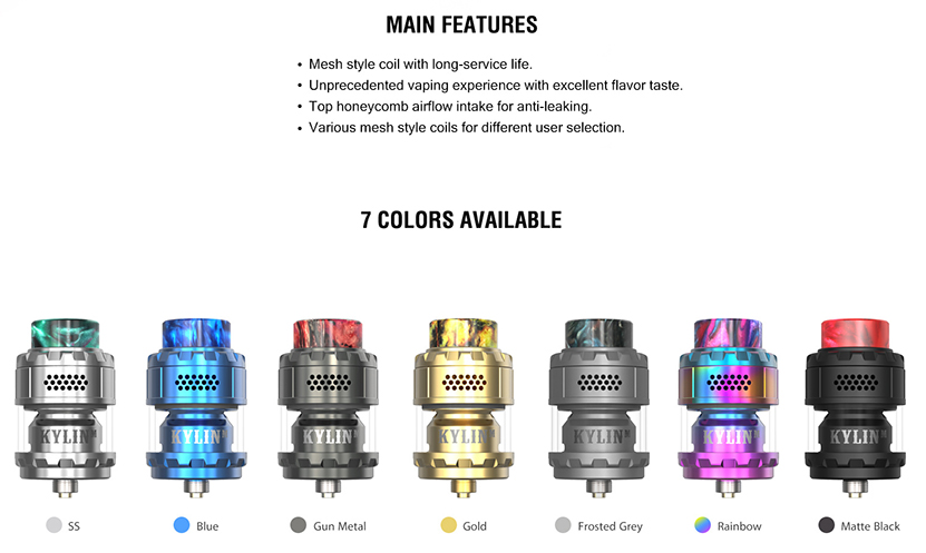 Vandy Vape Kylin M Rebuildable Tank Atomizer Feature