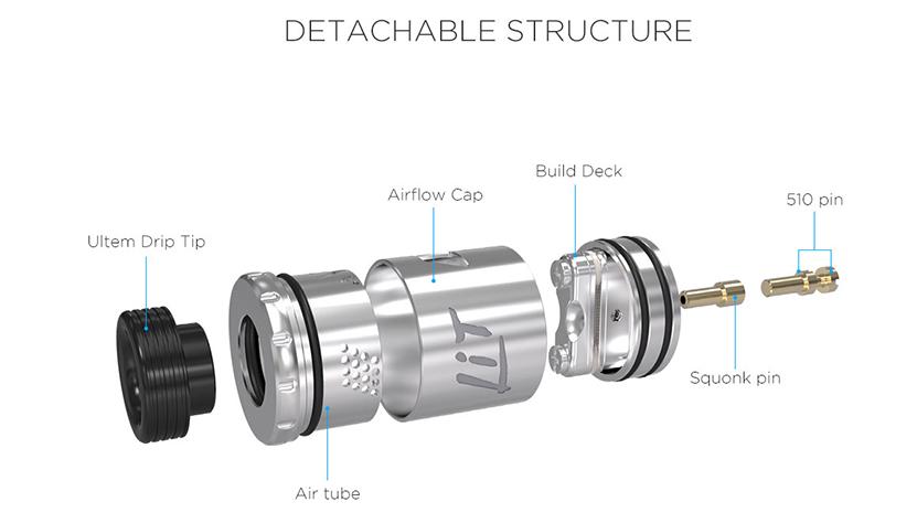 Lit RDA Atomizer Structure