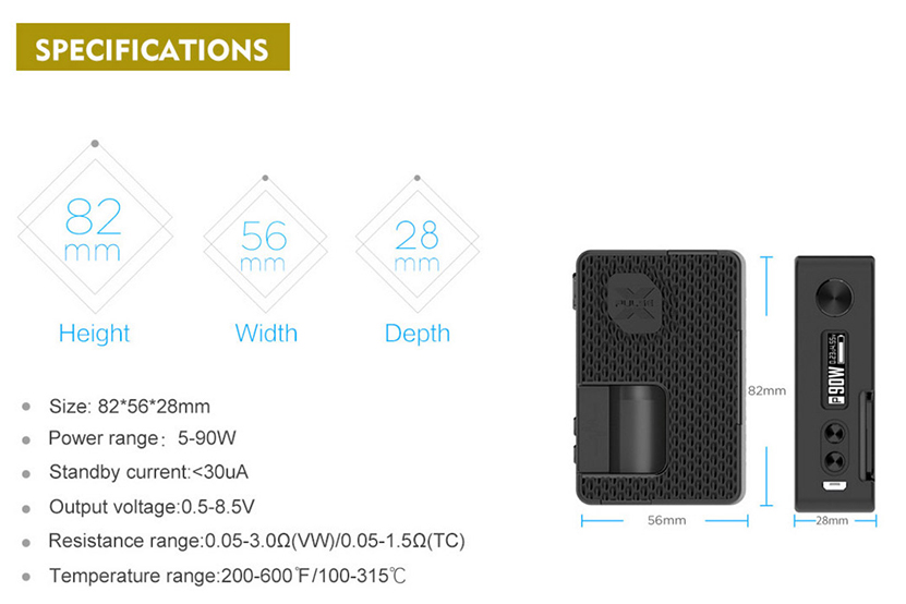 Vandy Vape Pulse X Mod Specification
