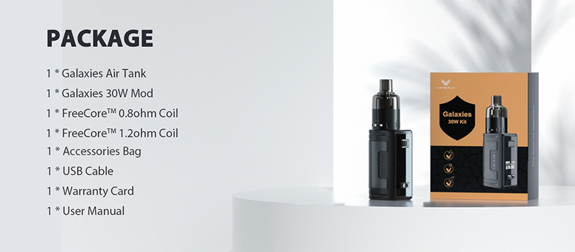 Vapefly Galaxies 30W Kit package