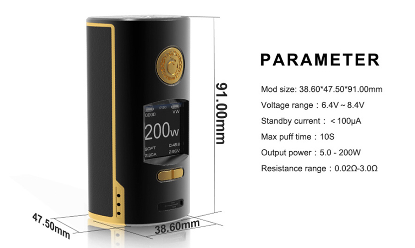 Kriemhild Vape Battery Mod Parameter