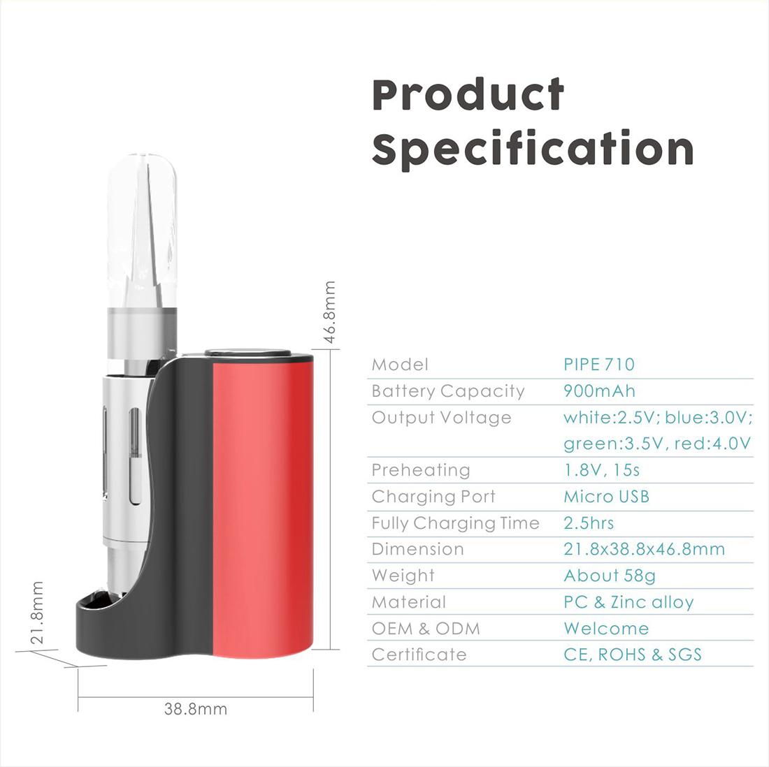 Vapmod Pipe 710 Starter Kit Specifiction
