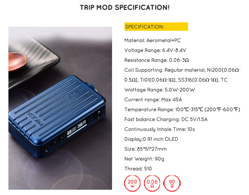Trip 200W TC Mod Features 05