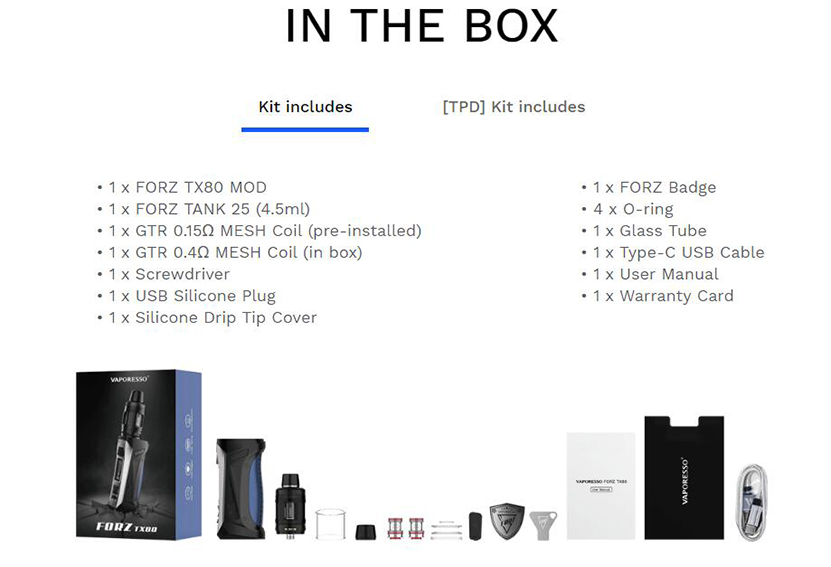 Vaporesso FORZ TX80 Kit with FORZ Tank 25 Box