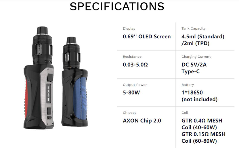 Vaporesso FORZ TX80 Mod Kit Specification