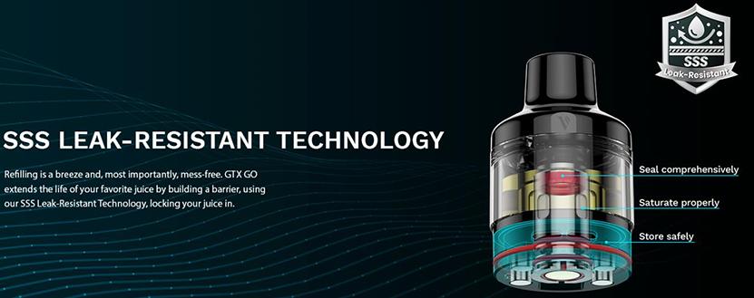 Vaporesso GTX GO 80 Kit Specification SSS Leak Resistant Technology