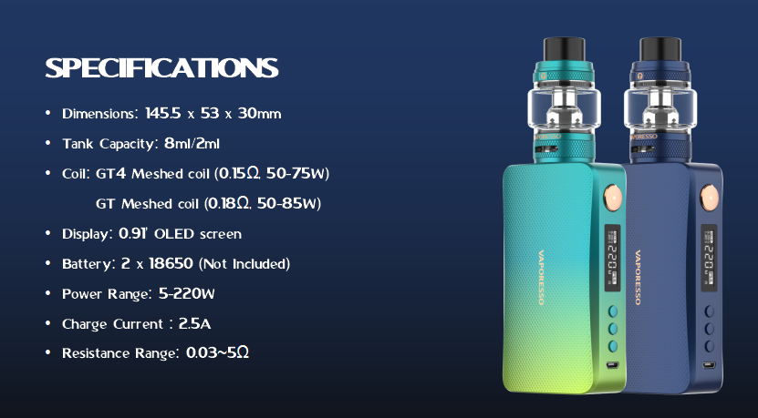 Vaporesso Gen S Box Mod Kit Specification