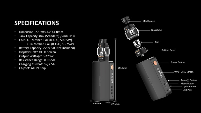 Vaporesso Gen X Box Mod Kit Structure