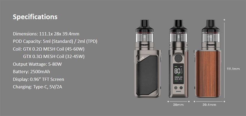 Vaporesso Luxe 80 Pod Mod Kit specification