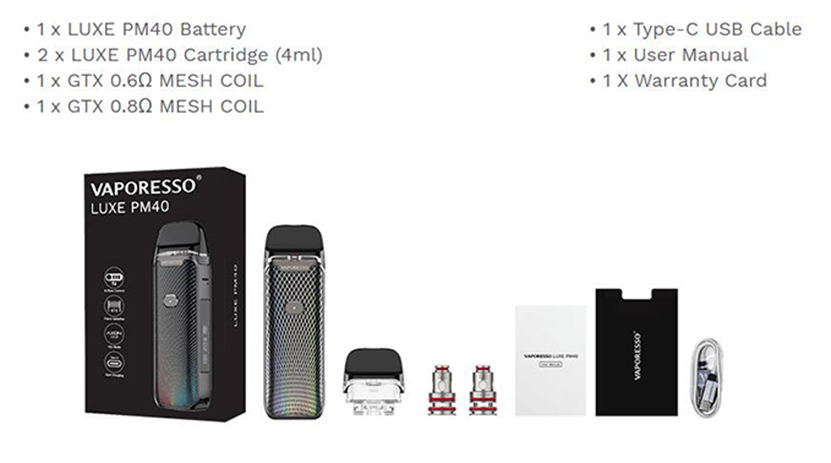 Vaporesso Luxe PM40 Kit Contents