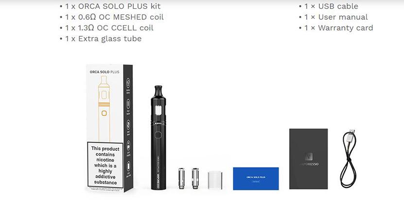 Vaporesso Orca Solo Plus Kit Content