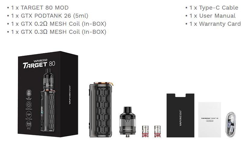Vaporesso Target 80 Kit Package List