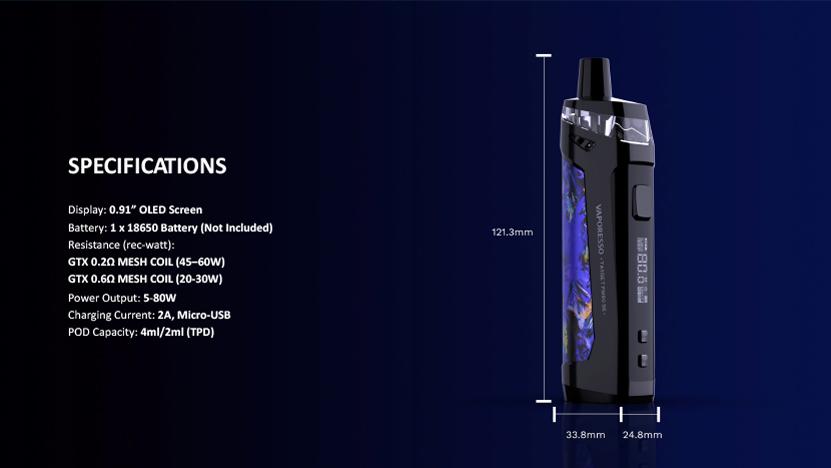 Vaporesso Target PM80 SE Pod Mod Kit Specification