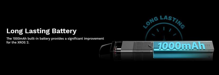 Vaporesso XROS 2 Pod System Kit 1000mAh battery capacity