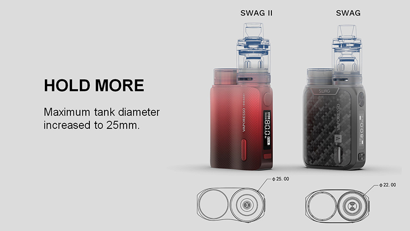 Vaporesso SWAG II Vape Mod Comparison with SWAG 1