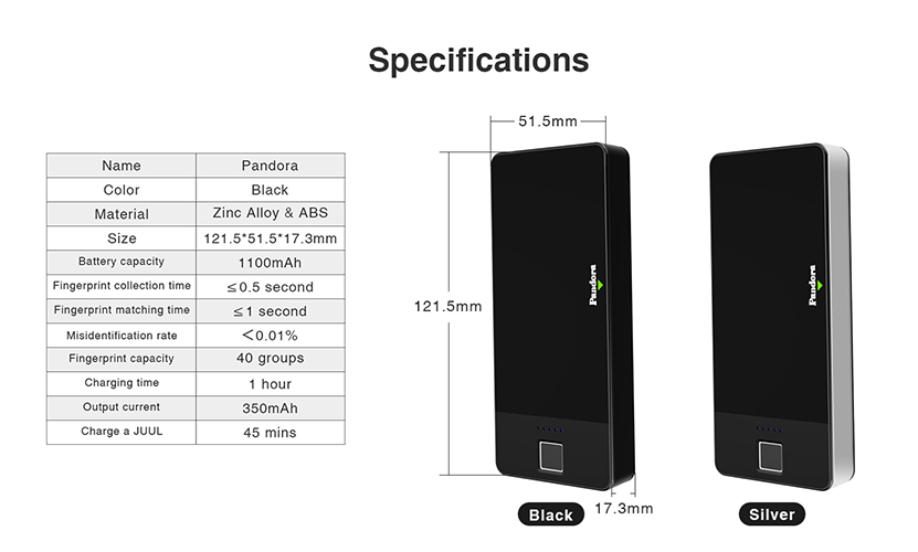 Wellon Pandora JULL Portable Charging Case Specification