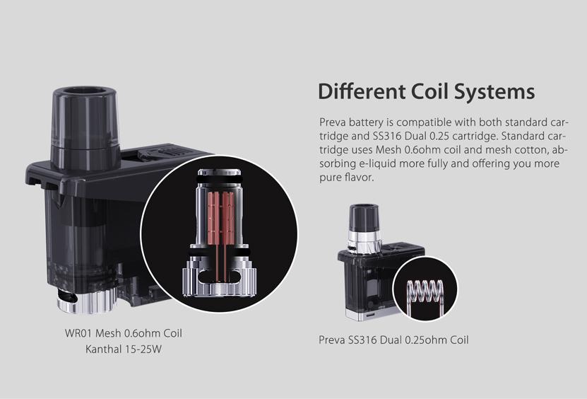 Wismec Preva Kit Different Coil System