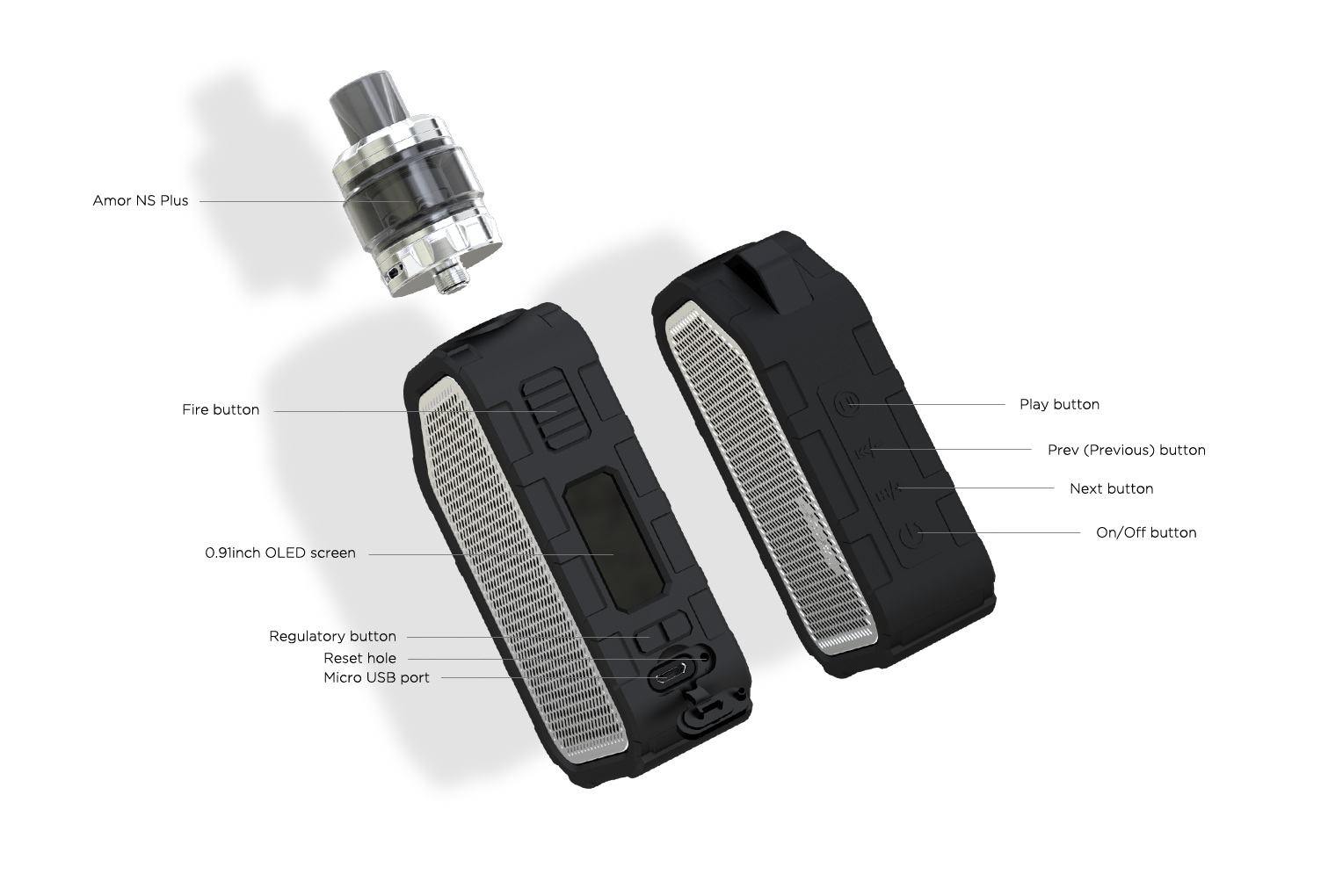 Wismec Active 80W Kit with Amor NS Plus Tank Features 01