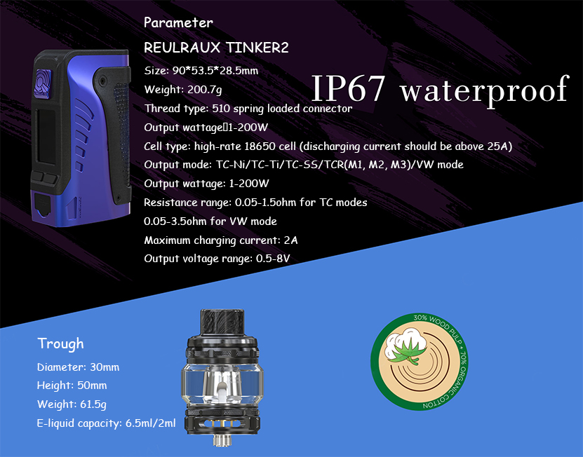 Wismec Reuleaux Tinker2 Kit Specification
