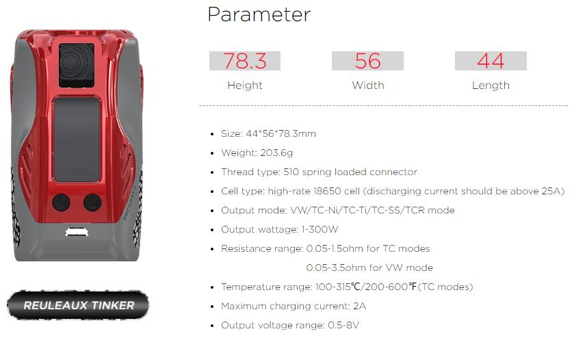 Reuleaux Tinker 300W TC Mod