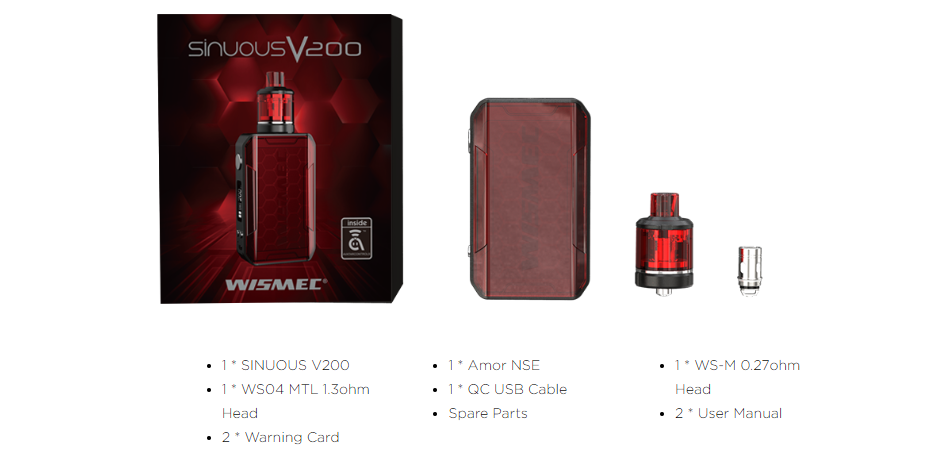 Wismec SINUOUS V200 Kit Package