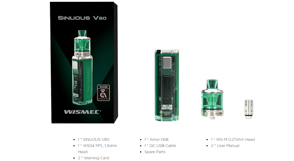 Wismec SINUOUS V80 Kit with Amor NSE Atomizer Package