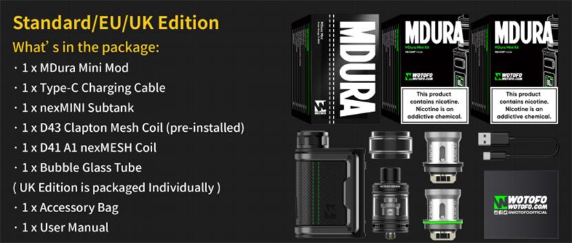 Wotofo MDura Mini Kit Package