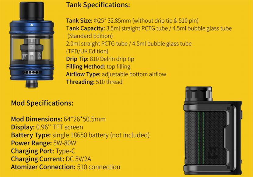 MDura Mini Box Mod Specifications