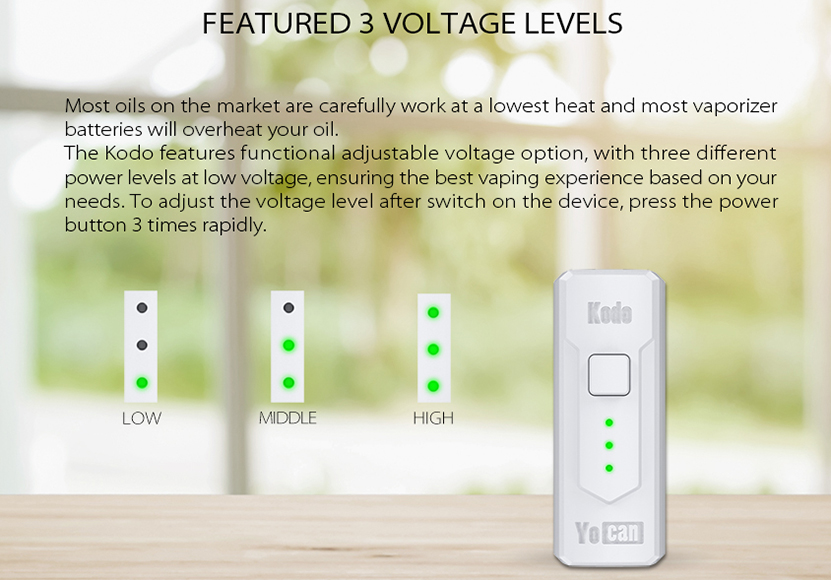 Yocan Kodo Mod Voltage Levels