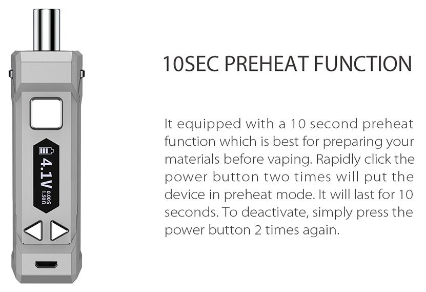 Yocan UNI Pro Box Mod 10S Preheat Function
