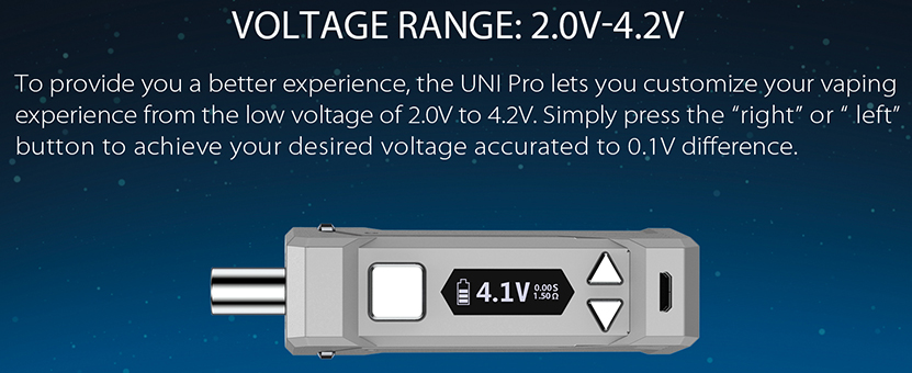 Yocan UNI Pro Voltage Range
