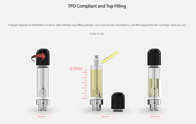 eRoll MAC Cartridge refilling