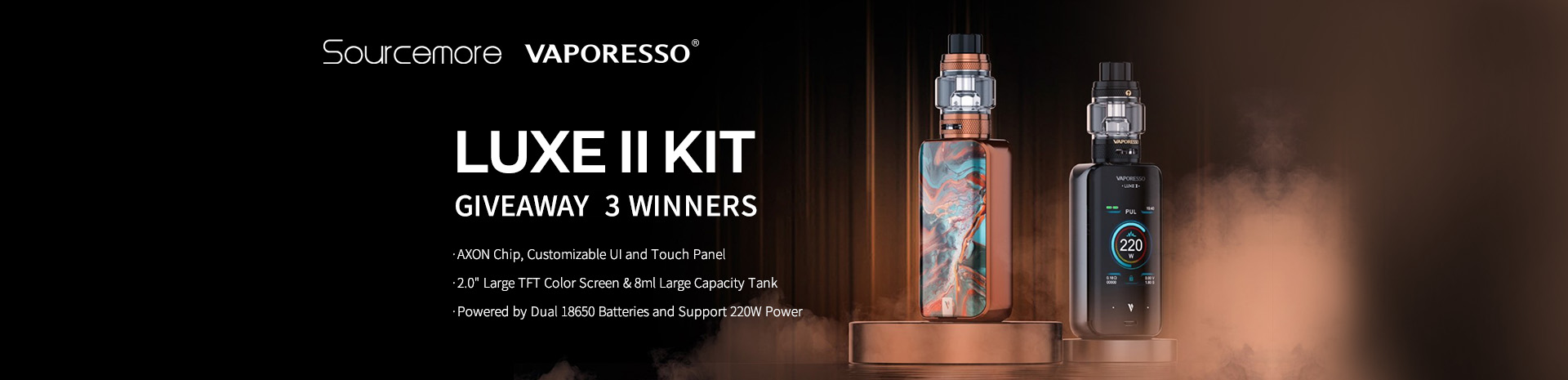 Vaporesso LUXE II Kit Giveaway Banner