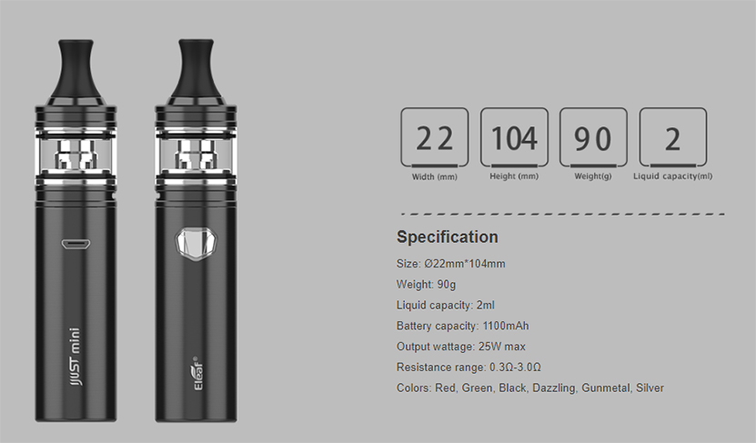 iJust Mini Vape Kit Specification